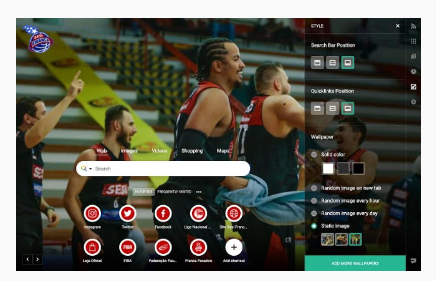 Sesi Franca Basquete lança extensão para página inicial personalizada no Chrome e no Edge